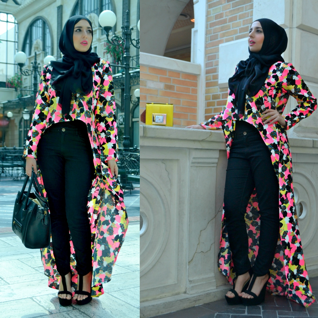Vibrant crepe CUTOFF hilow from Abaya Addict